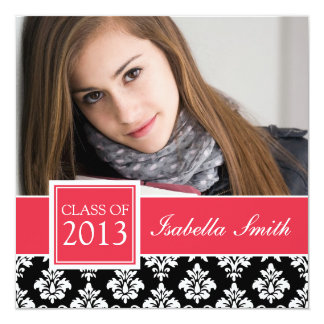 RED, BLACK DAMASK CLASS OF 2013 PHOTO CARD