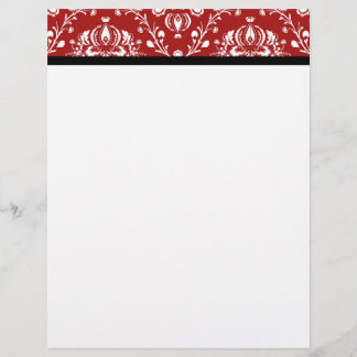 Red Black Damask Custom Letterhead
