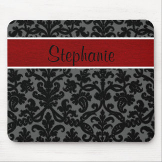 Red Black Damask Customizable Monogram Mouse Pad
