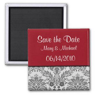 Red & black damask design 2 inch square magnet