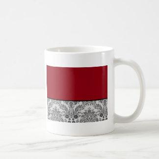 Red & black damask design coffee mug