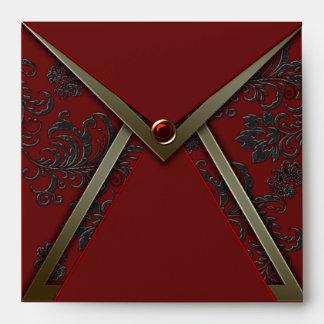 Red Black Damask Gold Trim Invitation Envelope