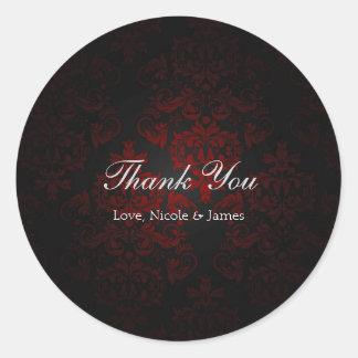 Red & Black Damask Gothic Dark Romantic Classic Round Sticker