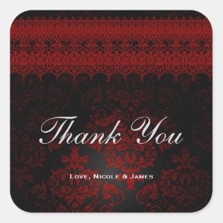 Red & Black Damask Gothic Dark Romantic Lace Square Sticker
