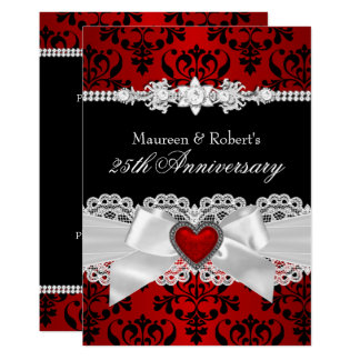 Red Black Damask Heart Bow 25th Anniversary Card