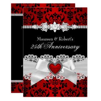 Red Black Damask Heart Bow 25th Anniversary Invitation