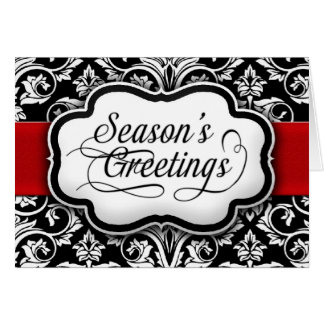 Red/Black Damask Holiday Greeting Card