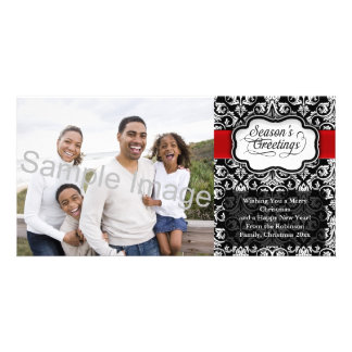 Red/Black Damask Holiday Photo Cards