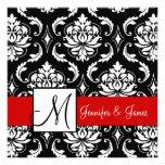 Red Black Damask Initial Wedding Invitation