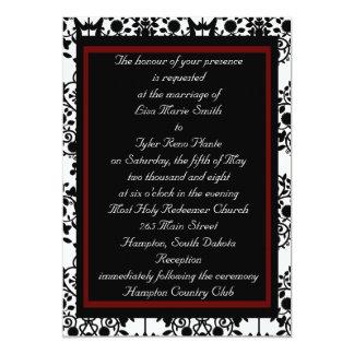 Red & Black Damask Invitation