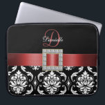 "RED, BLACK DAMASK MONOGRAM COMPUTER SLEEVE<br><div class=""desc"">GIRLY DESIGN WITH A RED RIBBON WITH DIAMONDS EFFECT PRINTED ON A BLACK AND WHITE DAMASK PATTERN WHICH YOU CAN PERSONALIZE WITH YOUR MONOGRAM AND YOUR NAME. ELKE CLARKE&#169; FOR MONOGRAMGALLERY</div>"