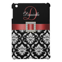 RED, BLACK DAMASK MONOGRAM COVER FOR THE iPad MINI