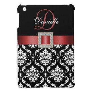 RED, BLACK DAMASK MONOGRAM iPad MINI COVER