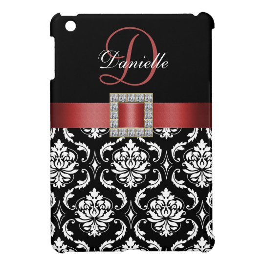 RED, BLACK DAMASK MONOGRAM iPad MINI COVER