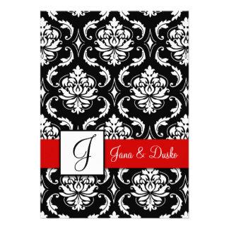 Red Black Damask Monogram Wedding Invitation