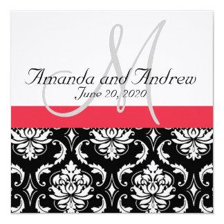 "Red Black Damask Names Wedding Invitation 5.25"" Square Invitation Card"