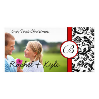 Red & Black Damask Our First Christmas Your Photo Card