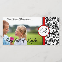 Red & Black Damask Our First Christmas Your Photo Holiday Card