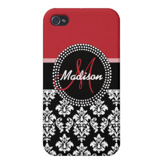 Red Black Damask Pattern, Your Name Monogram Cases For iPhone 4