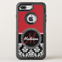 Red Black Damask Pattern, Your Name Monogram OtterBox Defender iPhone 7 Plus Case