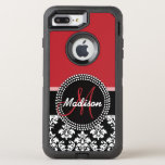 Red Black Damask Pattern, Your Name Monogram Otterbox Defender Iphone 8 Plus/7 Plus Case at Zazzle