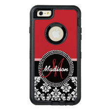 Red Black Damask Pattern, Your Name Monogram OtterBox Defender iPhone Case