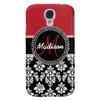 Red Black Damask Pattern, Your Name Monogram Samsung Galaxy S4 Case