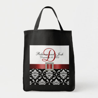 Red Black Damask Personalized Wedding Tote Canvas Bags