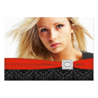 Red Black Damask Photo Business Cards Pack Of Chubby Business Cards