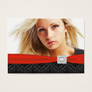 Red Black Damask Photo Business Cards