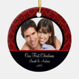 Red & Black Damask Photo First Christmas Ornament