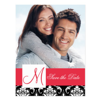 Red Black Damask Photo Save the Date Post Cards