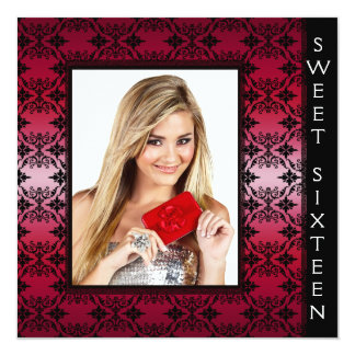 Red Black Damask Photo Sweet 16 Birthday Party Card