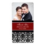 Red Black Damask Photo Wedding Labels