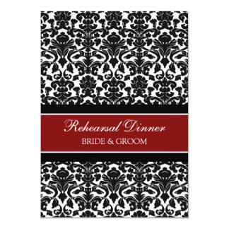 Red Black Damask Rehearsal Dinner Party Card