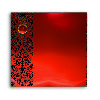 RED BLACK DAMASK Ruby , Gold Envelope