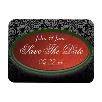 """Red & Black Damask """"Save The Date"""" Magnet"""