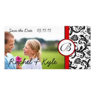 Red & Black Damask Save the Date Your Photo Card