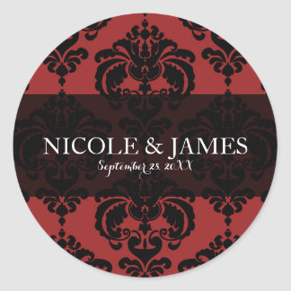 Red Black Damask Vintage Wedding Event Favor Classic Round Sticker