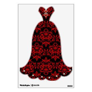Red black damask wall sticker