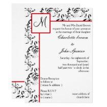 Red Black Damask Wedding Invitations