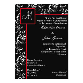 Monogram Black and Red   Damask Wedding Invitations