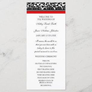 Red Black Damask Wedding Program