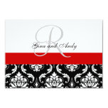 Red Black Damask Wedding RSVP For Square Invites