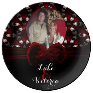 Red & Black Dark Night Gothic Wedding Romance Porcelain Plates