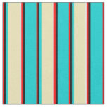 [ Thumbnail: Red, Black, Dark Turquoise, Tan & White Pattern Fabric ]