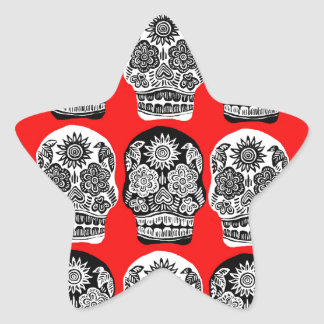 Red & Black Day of the Dead Skulls Star Sticker