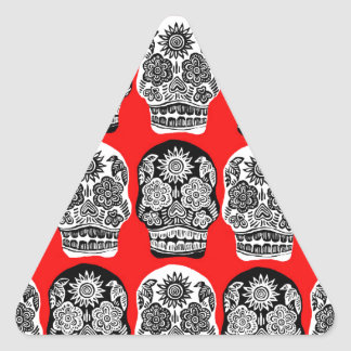 Red & Black Day of the Dead Skulls Triangle Sticker