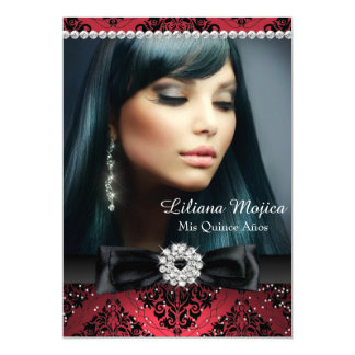 Red Black Diamond Bow & Damask Quinceanera Card