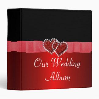 Red & Black Diamond Locking Hearts Wedding Binder